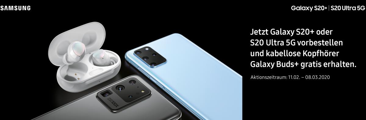 Jetzt Galaxy S20+ oder S20 Ultra 5G vorbestellen und kabellose Kopfhörer Galaxy Buds+ gratis erhalten. Aktionszeitraum: 11.02. - 08.03.2020