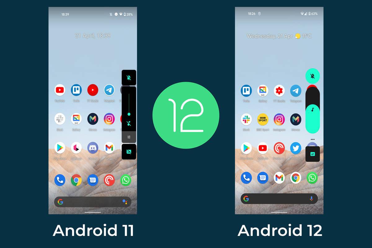 Der neue Look von Android 12 im Vergleich zu Android 11