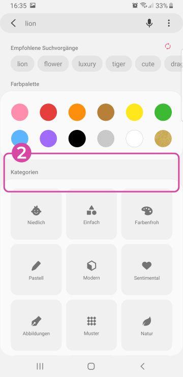 Such-Seite mit Farbpalette und Kategorien