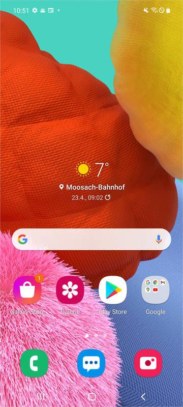 Der Home Screen eines Galaxy A51 im normalen Modus.