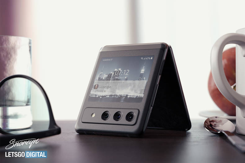 Renderbilder zeigen das mögliche Design des Galaxy Z Flip3