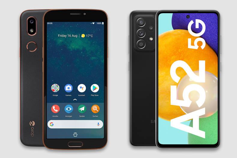 Zwei Geräte, die als Senioren-Smartphone geeignet sind: das Doro 8080 und das Samsung Galaxy A52 5G